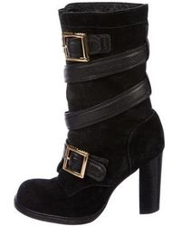 45fe9f5b22b9d7 Tory Burch - Suede Multistrap Ankle Boots Black - Lyst