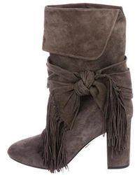 Aquazzura - Fringe Tie 85 Boots Grey - Lyst