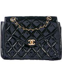 c933af65f982 Lyst - Chanel Patent Cc Flap Bag Black in Metallic