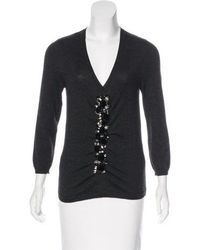 Carolina Herrera - Wool & Silk Knit Sweater Grey - Lyst