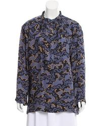 Dries Van Noten - Long Sleeve Button-up Top Navy - Lyst