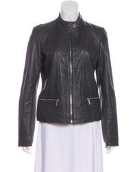MICHAEL Michael Kors - Michael Kors Leather Zip-up Jacket Grey - Lyst
