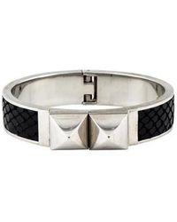 Michael Kors - Embossed Leather Stud Bangle Silver - Lyst