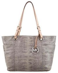 4999b9950ac8 MICHAEL Michael Kors - Michael Kors Embossed Suede Leather Tote Grey - Lyst