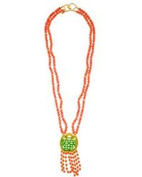 Kenneth Jay Lane - Carved Resin & Bead Double Strand Pendant Necklace Gold - Lyst