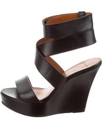 Givenchy - Leather Ankle Strap Wedges - Lyst