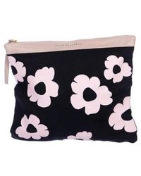 Lizzie Fortunato - Leather-trimmed Floral Print Clutch Blue - Lyst