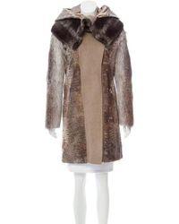 Ferragamo - Fur-trimmed Broadtail Coat - Lyst