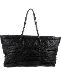 Chanel - Quilted Lambskin Sharpei Tote Black - Lyst