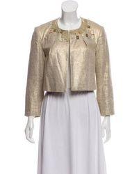Ports 1961 - Linen Blend Embellished Jacket Gold - Lyst