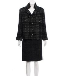 Chanel - Metallic-accented Wool Skirt Suit - Lyst
