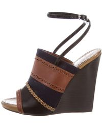 Proenza Schouler - Perforated Leather Wedges Navy - Lyst