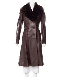 Jean Paul Gaultier - Fur-trimmed Leather Coat - Lyst