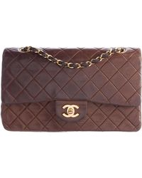 86e25313bc18 Chanel - Lambskin Quilted Classic Medium Double Flap Brown - Lyst