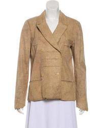 Chanel - Suede Button-up Jacket Beige - Lyst