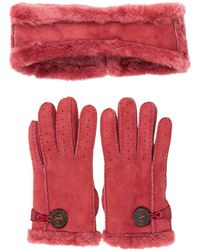 UGG - Shearling Gloves And Headband Set - Lyst