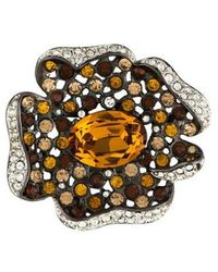 Kenneth Jay Lane - Crystal Flower Brooch Silver - Lyst