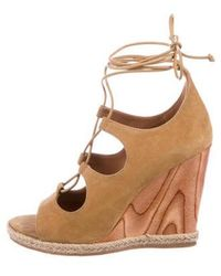 8e13c072295f Lyst - Tory Burch Suede Wedge Sandals in Brown