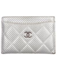 Chanel - Cc Perforated Card Holder Silver - Lyst