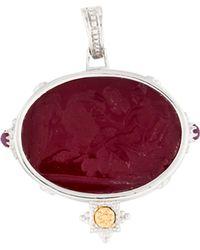 Tagliamonte - Two-tone Glass Intaglio & Ruby Pendant Silver - Lyst