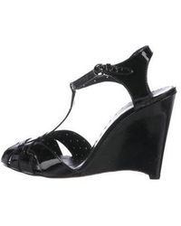 Boutique Moschino - Patent Leather T-strap Wedges - Lyst
