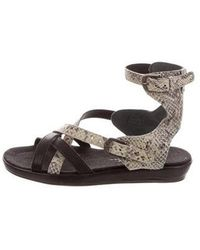 Henry Beguelin - Embossed Polvere Sandals W/ Tags Grey - Lyst