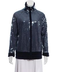 Chanel - Sequined Zip-up Jacket Blue - Lyst