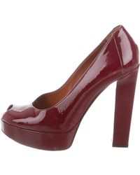 Lanvin - Patent Leather Platform Pumps Burgundy - Lyst