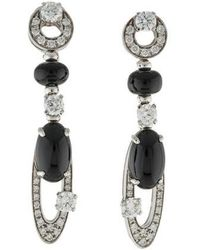 BVLGARI - 18k Diamond & Onyx Elisia Earrings White - Lyst