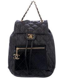 Chanel - 2016 Denim And Calfskin Backpack Black - Lyst