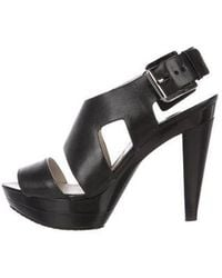 dd74b1e56fe MICHAEL Michael Kors - Michael Kors Leather Platform Sandals Black - Lyst