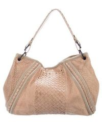 1afedfa5e71b Bottega Veneta - Intrecciato-trimmed Leather Hobo Neutrals - Lyst