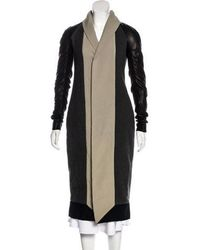 Rick Owens - Wool & Leather Coat W/ Tags Grey - Lyst