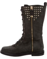 Balmain - Studded Suede Combat Boots Grey - Lyst