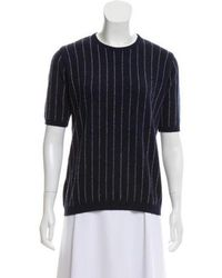 95b597449d Brunello Cucinelli - Short Sleeve Cashmere Sweater Blue - Lyst