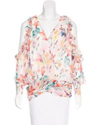 Thomas Wylde - Floral Print Ruffled Blouse - Lyst