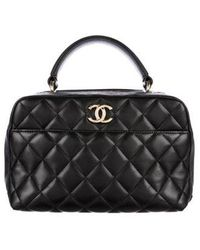 bd39f15378 Lyst - Chanel Lambskin Vintage Quilted Bowling Bag Black in Metallic