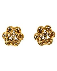 Chanel - Vintage Chain-link Clip-on Earrings Gold - Lyst
