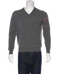 Moncler - Maglione Tricot Scollo V-neck Sweater Grey - Lyst