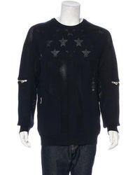 Balmain - 2018 Perforated Flag Zip-accented Sweater Navy - Lyst