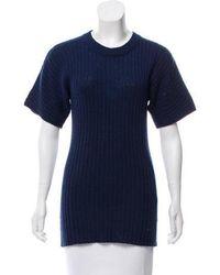 Creatures of Comfort - Wool Short Sleeve Sweater Navy - Lyst