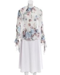 Lover - Long Sleeve Floral Blouse W/ Tags Beige - Lyst