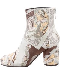 Maison Margiela - Satin Printed Ankle Boots W/ Tags Silver - Lyst