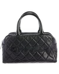 Chanel - Quilted Caviar Bowler Bag Black - Lyst