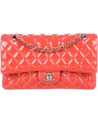 5d55dbe60b8c Crinkled Patent Leather Classic Medium Double Flap Bag Brown. $2,450. The  RealReal · Chanel - Classic Medium Double Flap Bag Coral - Lyst