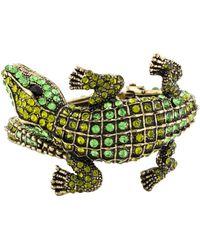 Kenneth Jay Lane - Embellished Alligator Cuff Gold - Lyst