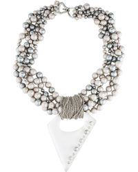 Alexis Bittar - Faux Pearl, Lucite & Crystal Pendant Necklace Silver - Lyst