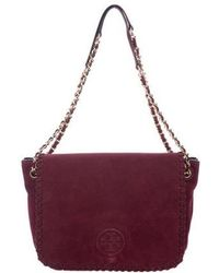 Tory Burch - Marion Suede Small Flap Bag Gold - Lyst