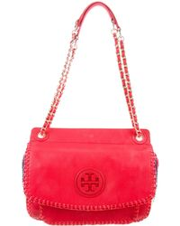 Tory Burch - Straw-trimmed Small Marion Bag Coral - Lyst