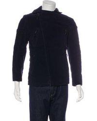CoSTUME NATIONAL - Velvet Moto Jacket Navy - Lyst